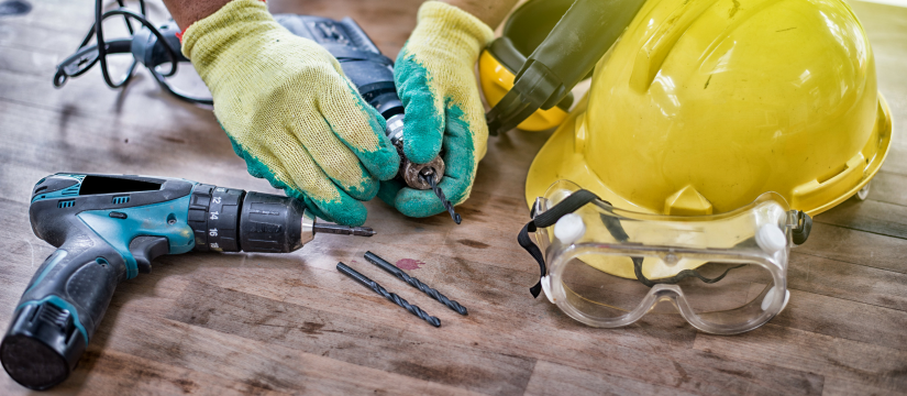 Safety equipment on a work bench