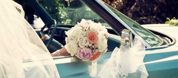 Retro Wedding Car With Bride