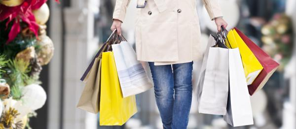 Women carrying Christmas shopping bags