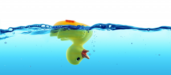 Yellow rubber duck floating upside down in water