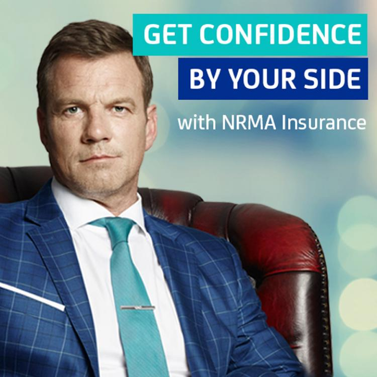 Confident man sitting in armchair - ad for NRMA Insurance