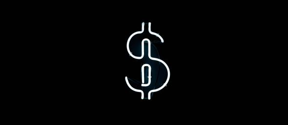 Neon dollar sign in black and white
